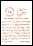 1976 SSPC #472  Tom Hutton  Back Thumbnail