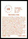1976 SSPC #534  Mike Vail  Back Thumbnail