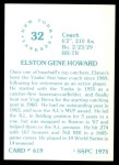 1976 SSPC #619  Elston Howard  Back Thumbnail