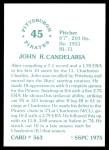 1976 SSPC #563  John Candelaria  Back Thumbnail