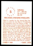 1976 SSPC #540  Mike Phillips  Back Thumbnail