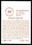 1976 SSPC #465  Dave Cash  Back Thumbnail