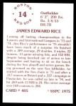 1976 SSPC #405  Jim Rice  Back Thumbnail