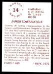1976 SSPC #405  Jim Rice  Back Thumbnail