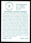 1976 SSPC #579  Rich Hebner  Back Thumbnail