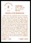1976 SSPC #503  Angel Mangual  Back Thumbnail