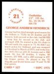 1976 SSPC #527  George Hendrick  Back Thumbnail