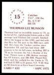 1976 SSPC #433  Thurman Munson  Back Thumbnail