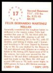 1976 SSPC #536  Felix Millan  Back Thumbnail