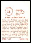 1976 SSPC #475  Jerry Martin  Back Thumbnail