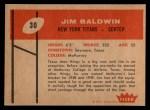 1960 Fleer #30  Jim Baldwin  Back Thumbnail