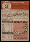 1953 Topps #25  Ray Boone  Back Thumbnail