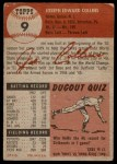 1953 Topps #9  Joe Collins  Back Thumbnail