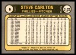 1981 Fleer #6 ERR Steve Carlton  Back Thumbnail