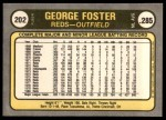 1981 Fleer #202 COR George Foster  Back Thumbnail