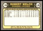 1981 Fleer #120 Rob Bob Welch  Back Thumbnail