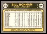 1981 Fleer #215 xHAND Bill Bonham  Back Thumbnail