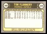 1981 Fleer #493 RHT Tim Flannery  Back Thumbnail