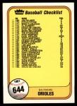 1981 Fleer #644 COR  Reds / Orioles Checklist Front Thumbnail