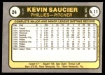 1981 Fleer #24 KEV Kevin Saucier  Back Thumbnail