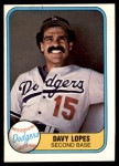 1981 Fleer #114 xHAND Dave Lopes  Front Thumbnail