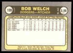 1981 Fleer #120 Bob Bob Welch  Back Thumbnail