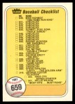 1981 Fleer #659 ERR  Checklist Front Thumbnail