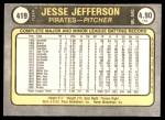 1981 Fleer #419 A Jesse Jefferson  Back Thumbnail