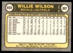 1981 Fleer #653 COR Willie Wilson  Back Thumbnail