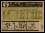 1961 Topps #66  Bill Henry  Back Thumbnail