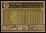 1961 Topps #234  Ted Lepcio  Back Thumbnail