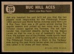 1961 Topps #250   -  Vern Law / Roy Face Buc Hill Aces Back Thumbnail