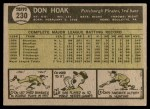 1961 Topps #230  Don Hoak  Back Thumbnail