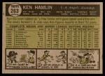 1961 Topps #263 IN Ken Hamlin  Back Thumbnail