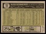 1961 Topps #56  Russ Kemmerer  Back Thumbnail