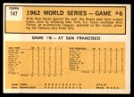 1963 Topps #147   -  Billy Pierce / Roger Maris 1962 World Series - Game #6 - Pierce Stars in 3-Hit Victory Back Thumbnail
