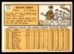 1963 Topps #315  Ralph Terry  Back Thumbnail