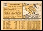 1963 Topps #486  Ray Sadecki  Back Thumbnail