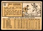 1963 Topps #408  Billy Gardner  Back Thumbnail