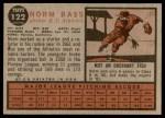 1962 Topps #122 GRN Norm Bass  Back Thumbnail