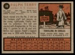 1962 Topps #48  Ralph Terry  Back Thumbnail
