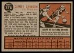 1962 Topps #178 NRM Camilo Carreon  Back Thumbnail