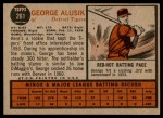 1962 Topps #261  George Alusik  Back Thumbnail