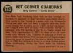 1962 Topps #163 NRM  -  Clete Boyer / Billy Gardner Hot Corner Guardians Back Thumbnail