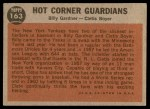 1962 Topps #163 GRN  -  Clete Boyer / Billy Gardner Hot Corner Guardians Back Thumbnail
