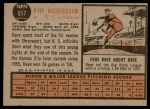 1962 Topps #517  Dave Wickersham  Back Thumbnail