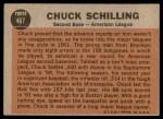 1962 Topps #467   -  Chuck Schilling All-Star Back Thumbnail