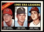 1966 Topps #222   -  Eddie Fisher / Sam McDowell / Sonny Siebert AL ERA Leaders Front Thumbnail