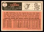 1966 Topps #130  Joe Torre  Back Thumbnail