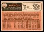 1966 Topps #193  Dave McNally  Back Thumbnail